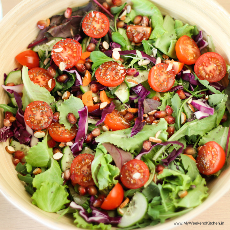 Raw salad recipe with fruits and vegetables